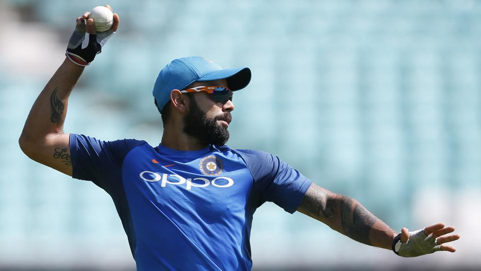 India cricket team skipper Virat Kohli during training on the eve of the ICC Champions Trophy 2017 final vs Pakistan cricket team at The Oval in London.