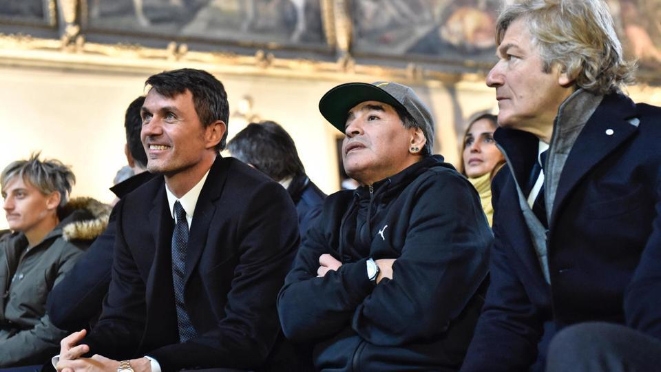 Former AC Milan great Paolo Maldini (left) is now working as a director at Miami FC.