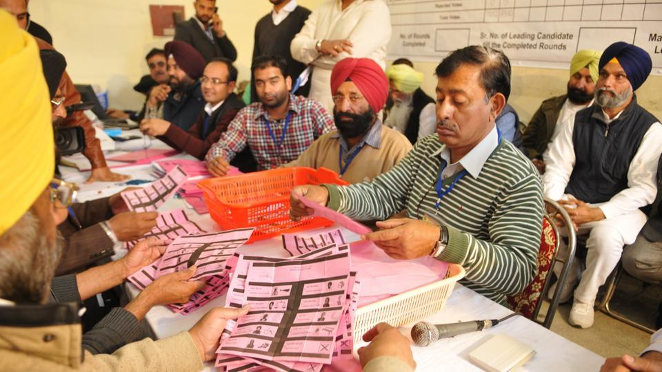Representative Image   Poll officials counts ballot papers at a counting centre in Jalandhar.