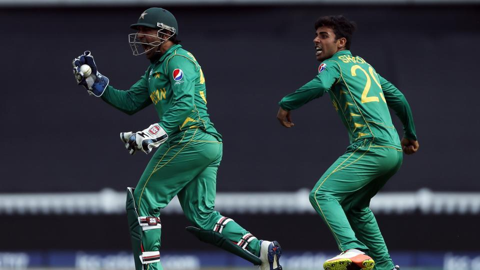 Sarfraz Ahmed celebrates after catching out Kedar Jadhav during the ICC Champions Trophy cricket match between India and Pakistan at The Oval in London. Catch full cricket score of India vs Pakistan here
