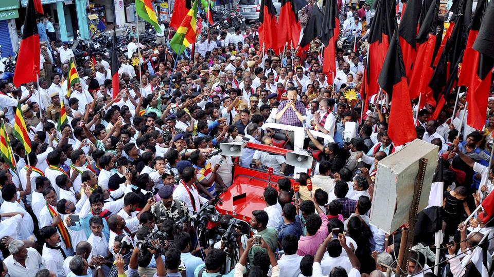 DMK treasurer MK Stalin campaigns for the party's candidate Marudhu Ganesh ahead of RK Nagar constituency bypoll in Chennai, in this file photo from April 2017.