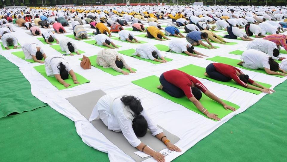 Yoga in Raj Bhawan, Lucknow  ahead of the June 21 International Yoga Day in which Prime Minister Narendra Modi would be present in the city.