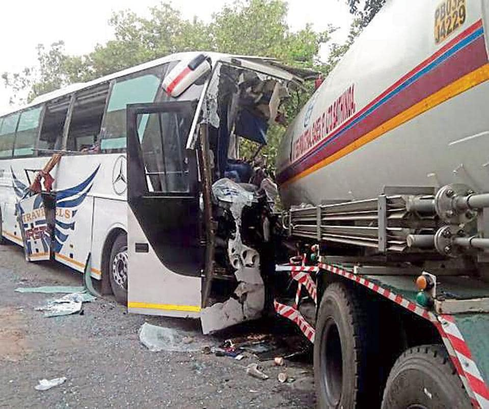 A tourist bus that collided with a tanker near Kathgarh village in SBS Nagar on June 6.