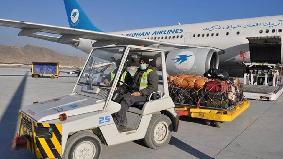 Goods being loaded on  to the first flight from Kabul airport under the new Afghanistan-India air cargo corridor that was launched on Monday.