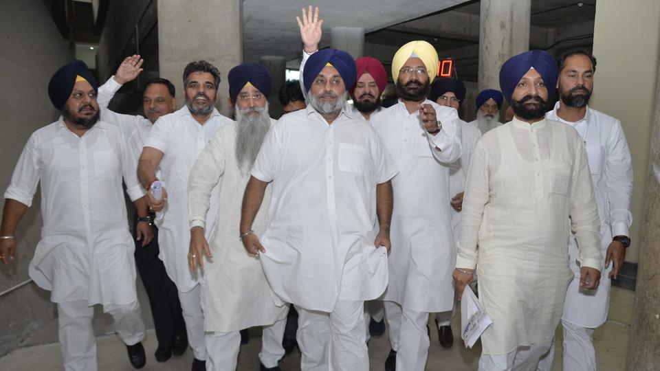 SAD leaders led by party chiefSuikhbir Badal walk out of the House on Monday.