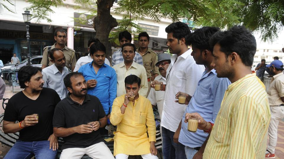 During an outreach programme, Chai pe Charcha, at the city's popular Sharma tea stall, Anand Kumar (seated, second from left)  said there would be two separate batches of Class 10 pass outs and those appearing for Class 12 in 2019.