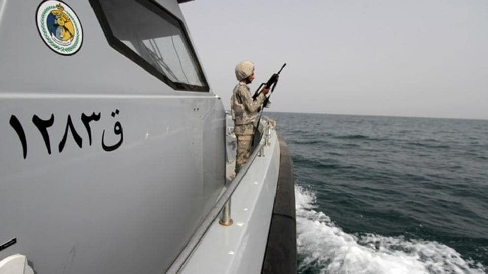 File photo of a Saudi border guard in a boat off the coast of the Red Sea on Saudi Arabia's maritime border with Yemen in April 2015.