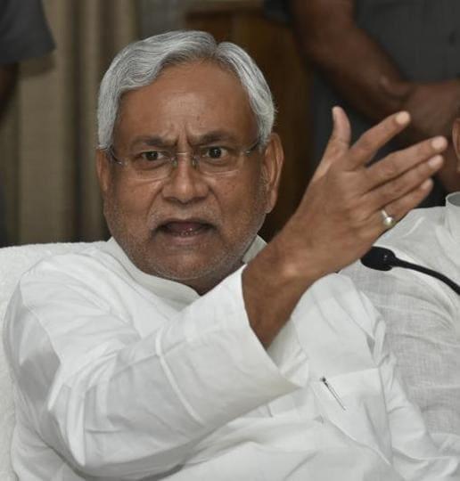 Bihar CM Nitish Kumar addressing reporters after his weekly  'Jan Samwad'  programme in Patna, on Monday.