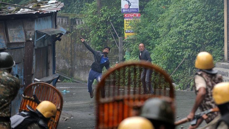Stone pelters in Darjeeling.