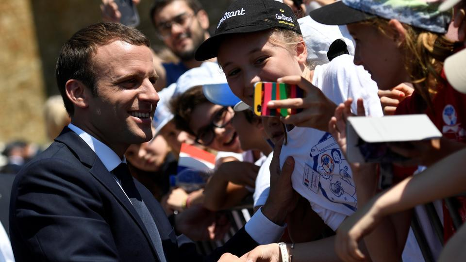 French President Emmanuel Macron attends a ceremony marking the 77th anniversary of late French General Charles de Gaulle's resistance call of June 18, 1940, at the Mont Valerien memorial in Suresnes, near Paris, on June 18, 2017.