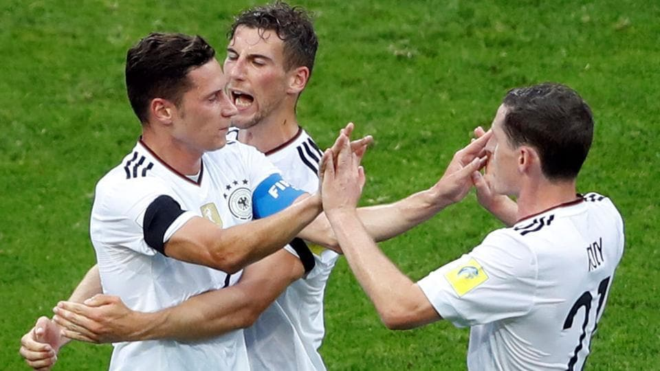 Germany's Julian Draxler celebrates scoring their second goal against Australia in the FIFA Confederations Cup 2017. Follow highlights of Australia vs Germany here.