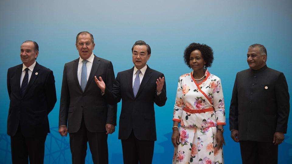 (Left to right) Brazil's Foreign Minister Aloysio Nunes, Russia's Foreign Minister Sergey Lavrov, China's Foreign Minister Wang Yi, South Africa's Foreign Minister Maite Nkoana-Mashabane  and Indian Minister of State for External Affairs VK Singh before the opening of the BRICS foreign ministers meeting in Beijing on  Monday.