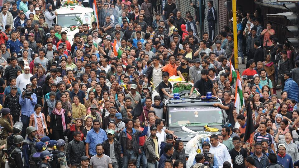 Supporters of the separatist Gorkha Janmukti Morcha group take part in a rally in Darjeeling on Sunday.