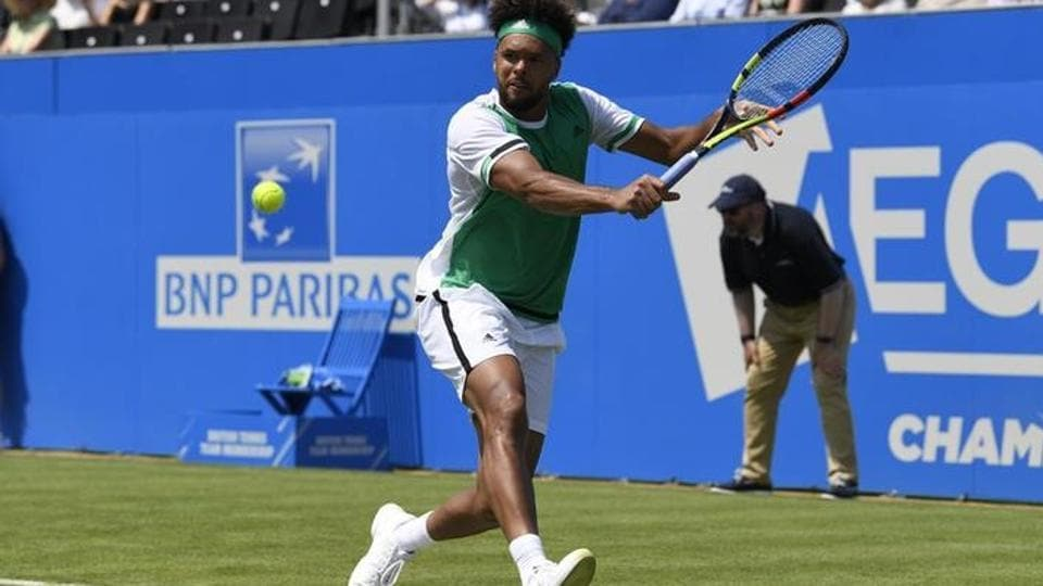 Jo-Wilfried Tsonga in action during his first round match against Adrian Mannarino at Queen's Club Championships.