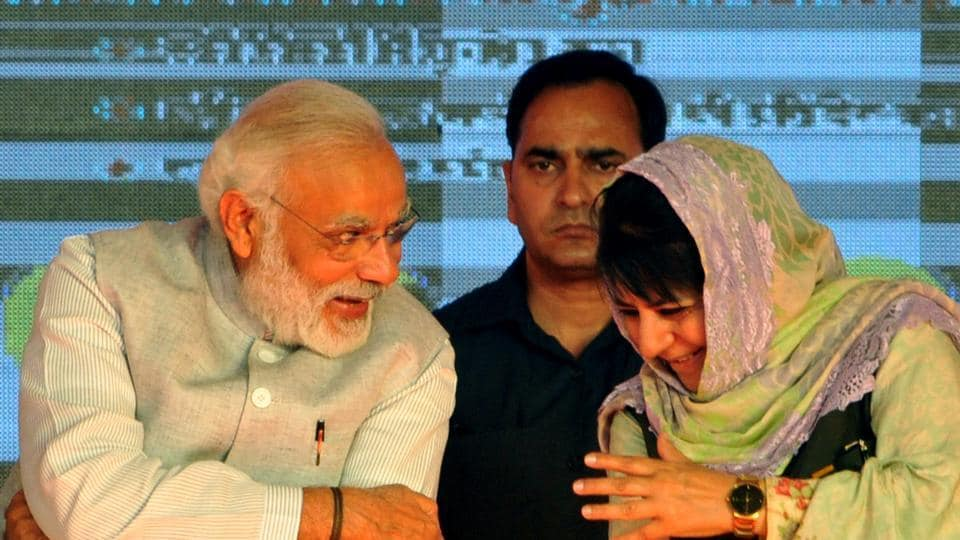 Prime Minister Narendra Modi and Jammu and Kashmir chief minister Mehbooba Mufti at a public rally held recently. The PDP-BJP  government in the state has assured both traders and Opposition parties that nobody would be disadvantaged under GST.