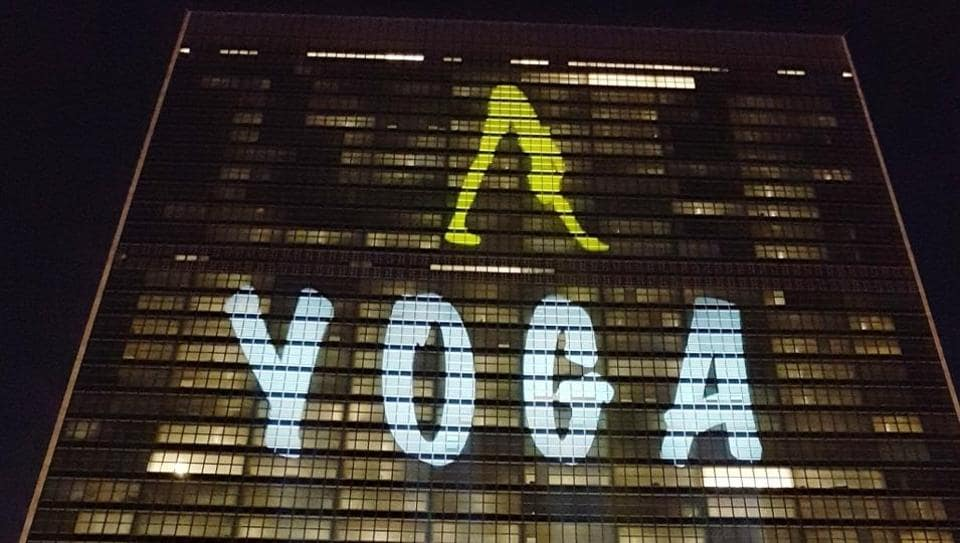 United Nations Building in New York lit up with Yoga symbol, on June 19, 2017, ahead of International Day of Yoga.