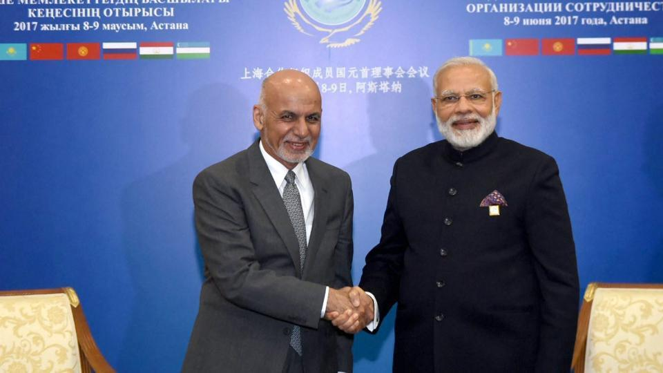 President of Afghanistan Mohammad Ashraf Ghani (L) with Prime Minister Narendra Modi on the sidelines of the SCO Summit in Kazakhstan.