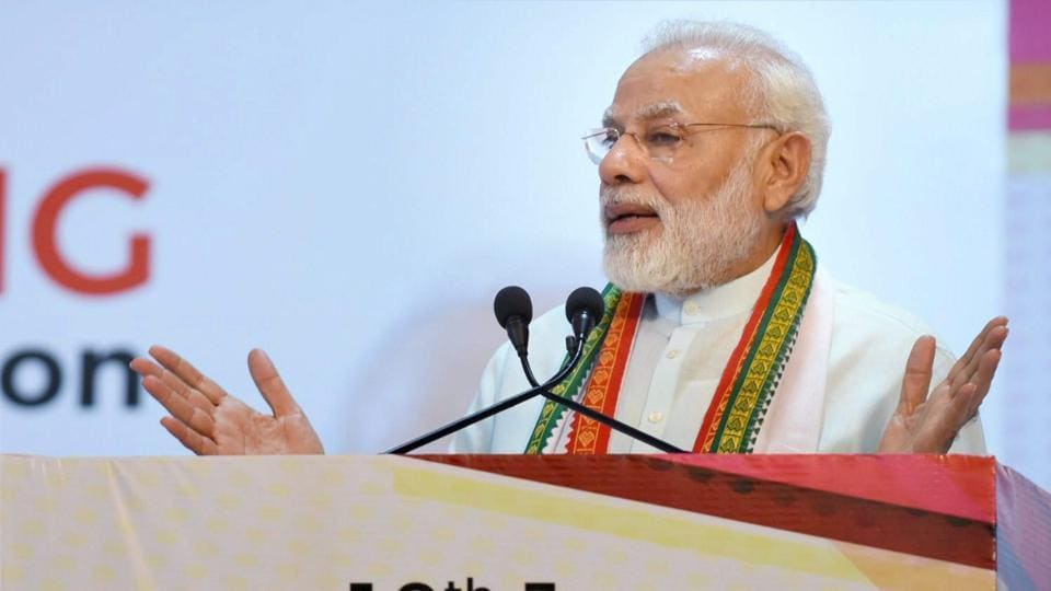 Prime Minister Narendra Modi addresses during the launch of the PN Panicker Reading Day- Reading Month Celebration in Kochi on Saturday.
