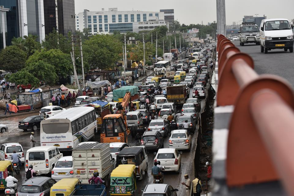 The rainfall on Monday threw traffic on Hero Honda Chowk out of gear.