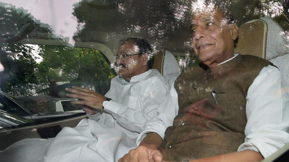 BJP leaders Rajnath Singh and Venkaiah Naidu after meeting Congress president Sonia Gandhi over the Presidential poll as part of the ruling party's outreach to stitch a consensus on the official nominee, in New Delhi on Friday.