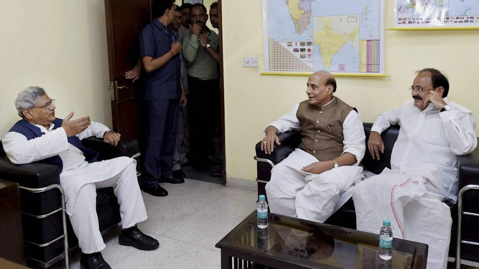 Union ministers Rajnath Singh and Venkaiah Naidu meeting with CPI(M) general secretary Sitaram Yechury on presidential poll as part of the ruling party's outreach to stitch a consensus in New Delhi.
