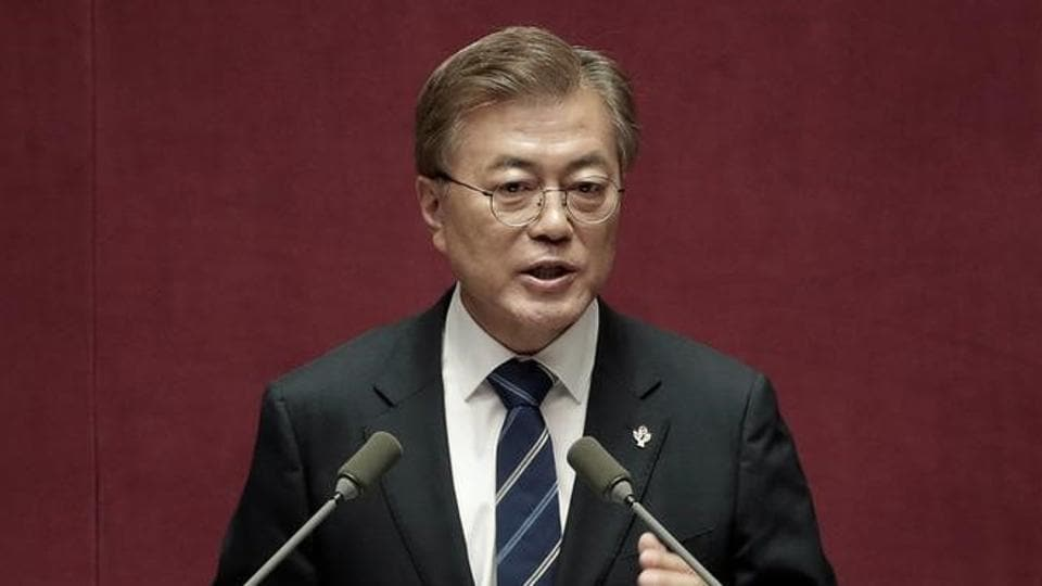 South Korean President Moon Jae-in delivers a speech at the National Assembly in Seoul, South Korea.