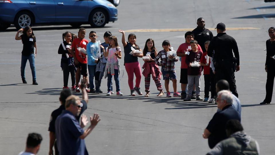 Representative picture.  Students were evacuated after a shooting at North Park Elementary School, San Bernardino, California, US,  April 10, 2017.