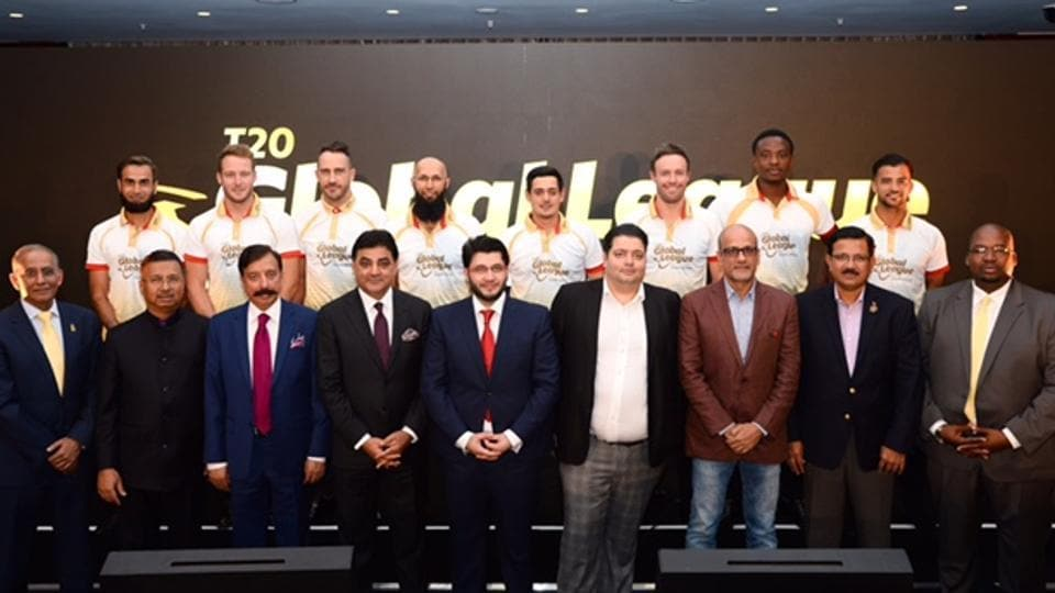 Players and owners during the T20 Global League Launch in London.