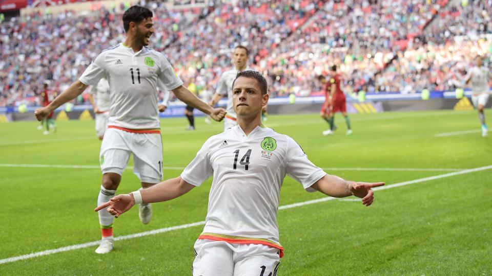 Mexico's Javier Hernandez celebrates after scoring a goal during the 2017 Confederations Cup group A match against Portugal.