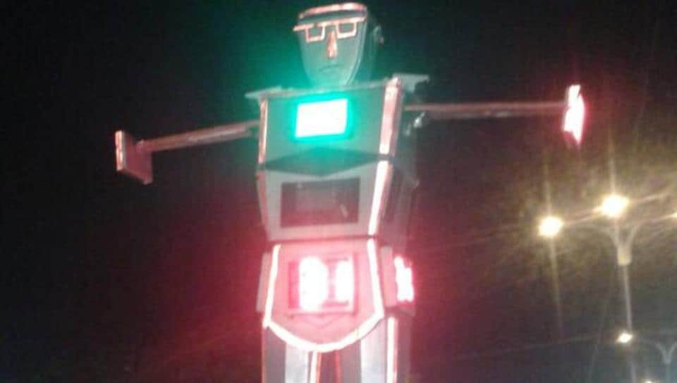 Police say this was the first time in Madhya Pradesh that a robot had replaced humans in managing traffic.
