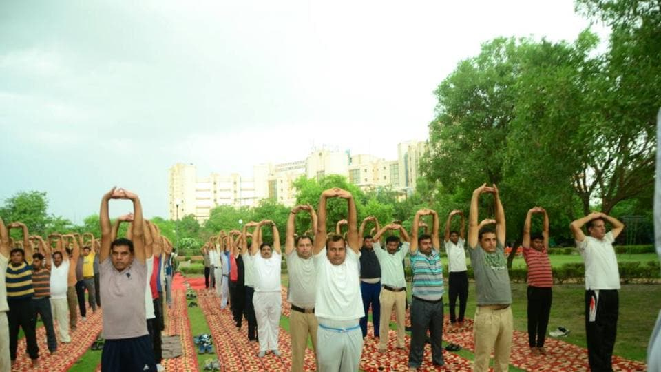 Delhi Police has been organising regular yoga sessions to help the cops de-stress.