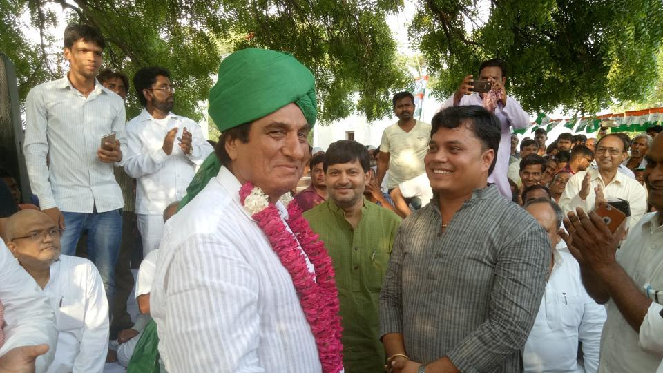 Uttar Pradesh Congress Committee president Raj Babbar with party workers in Lucknow.