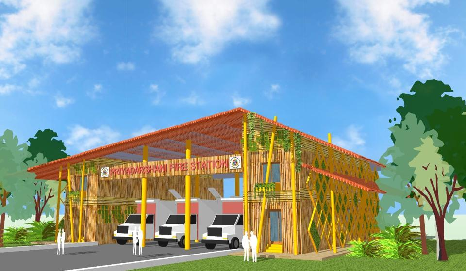 An artist's impression of the eco-friendly fire station.