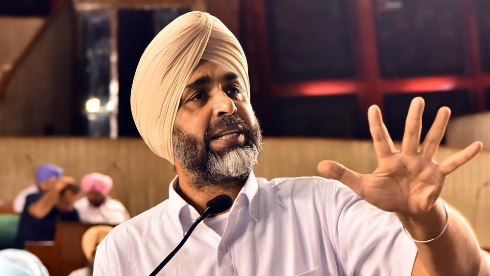 Punjab finance minister Manpreet Singh Badal presenting the state budget in the assembly on Tuesday.