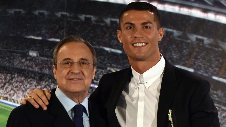 Florentino Perez (L) has played down speculation about Cristiano Ronaldo leaving Real Madrid this summer.