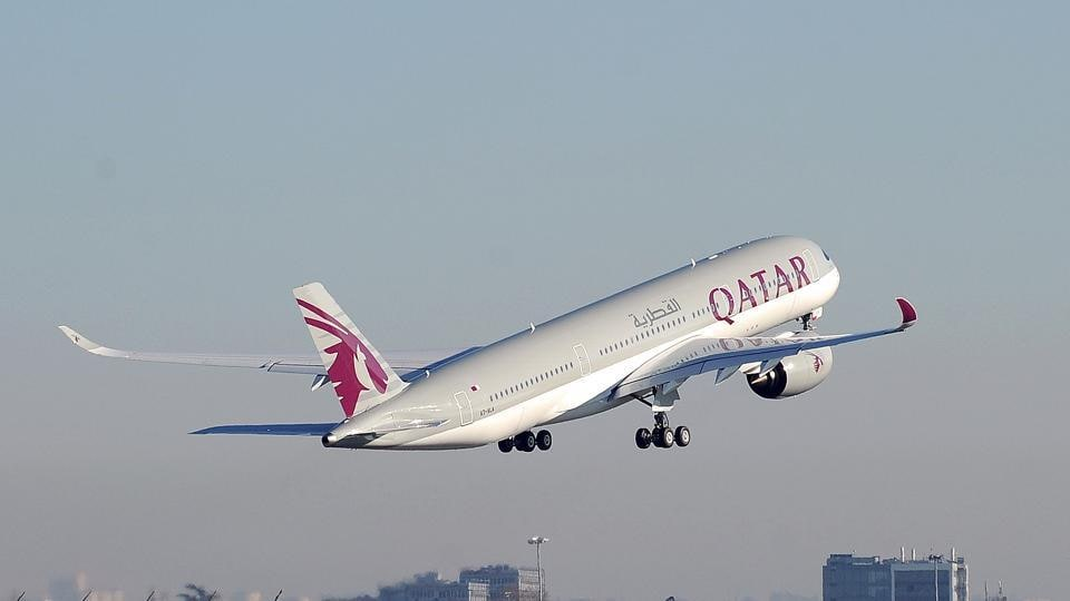 A Qatar Airways A350 taking off from the Airbus headquarters in Toulouse. Qatar Airways announced it had suspended all flights to Saudi Arabia, the UAE, Bahrain and Egypt, in the wake of a diplomatic boycott against Doha by regional powerhouses.