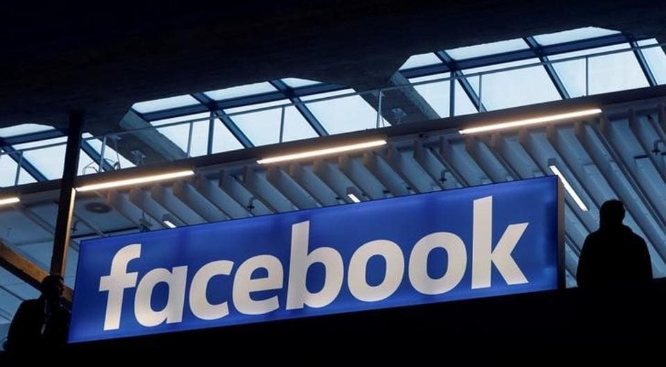 Facebook logo is seen at a start-up companies gathering at Paris' Station F in Paris, France.