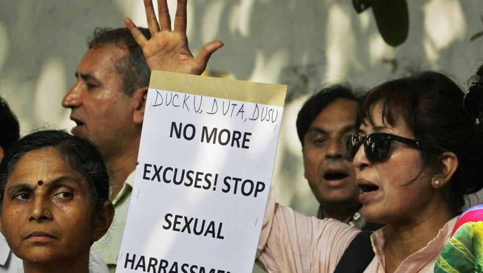 Activists protest the rising number of harassment cases across the country.