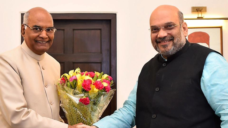 Bihar governor Ram Nath Kovind meets BJP president Amit Shah in New Delhi on Monday. Kovind was on Monday announced as NDA's presidential nominee.