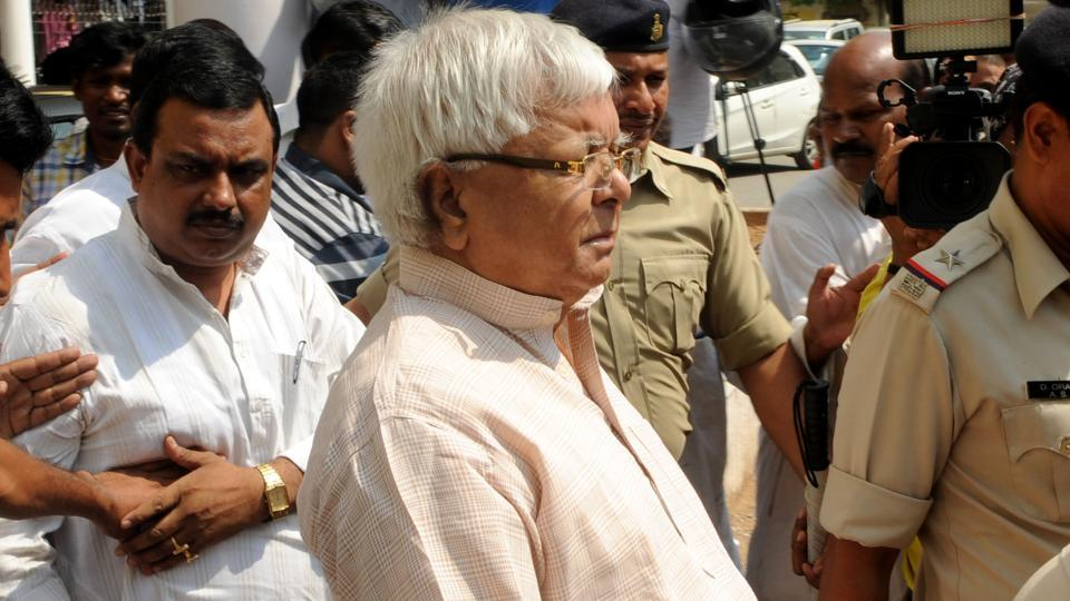 RJD president Lalu Prasad coming out of a special CBI court after appearing in connection with a fodder scam case in Ranchi.