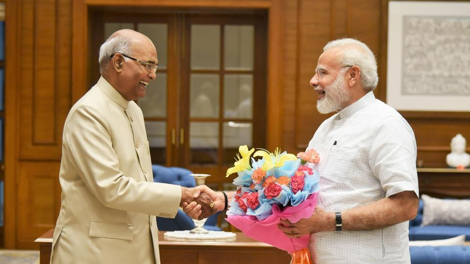 Bihar governor Ram Nath Kovind meets PM Narendra Modi, in New Delhi.