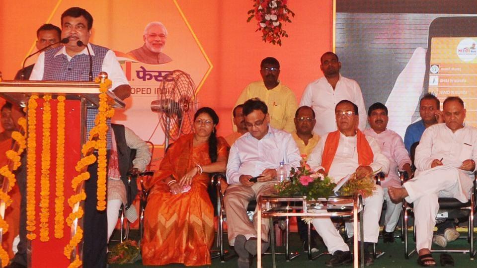 Union road transport and highways and shipping minister Nitin Gadkari speaks at a Modi fest programme on the occasion of completion of three years of the NDA government in Ranchi.