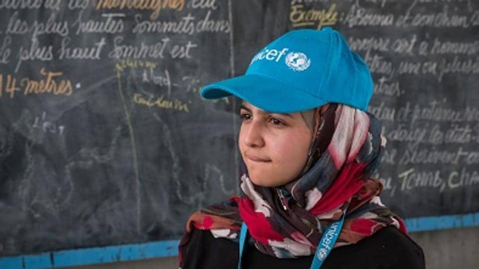 Syrian refugee and education activist Muzoon Almellehan visits a classroom at Yakoua school in Bol, Lake Region, Chad, Friday 21 April 2017.