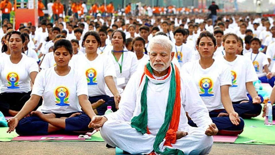 Prime Minister Narendra Modi at the Rajpath to mark International Day of Yoga in 2015.