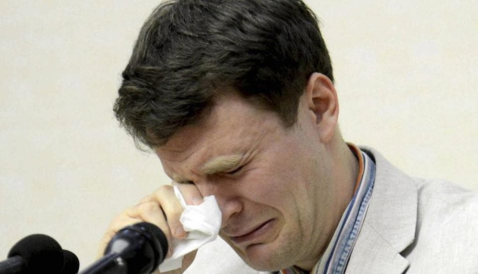 American student Otto Warmbier cries while speaking to reporters in Pyongyang, North Korea in February,  2016. The family of Warmbier who died days after being released from North Korea in a coma said the 22-year-old