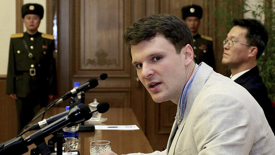 American student Otto Warmbier speaks as he is presented to reporters in Pyongyang, North Korea.