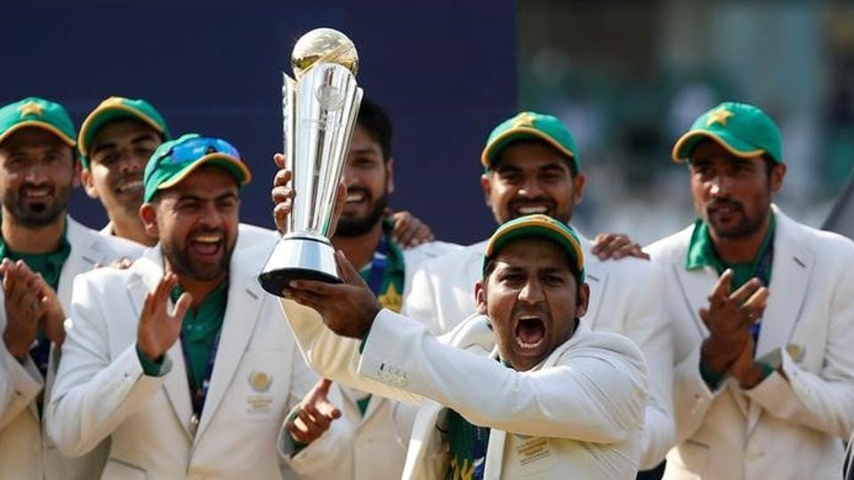 Pakistan celebrate winning the ICC Champions Trophy.