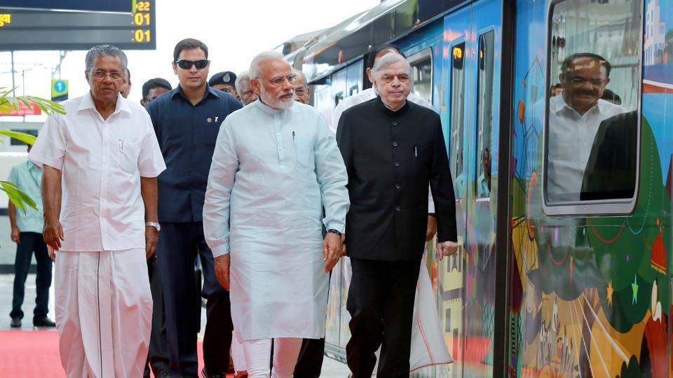 Prime Minister Narendra Modi during the inauguration of the Kochi Metro.