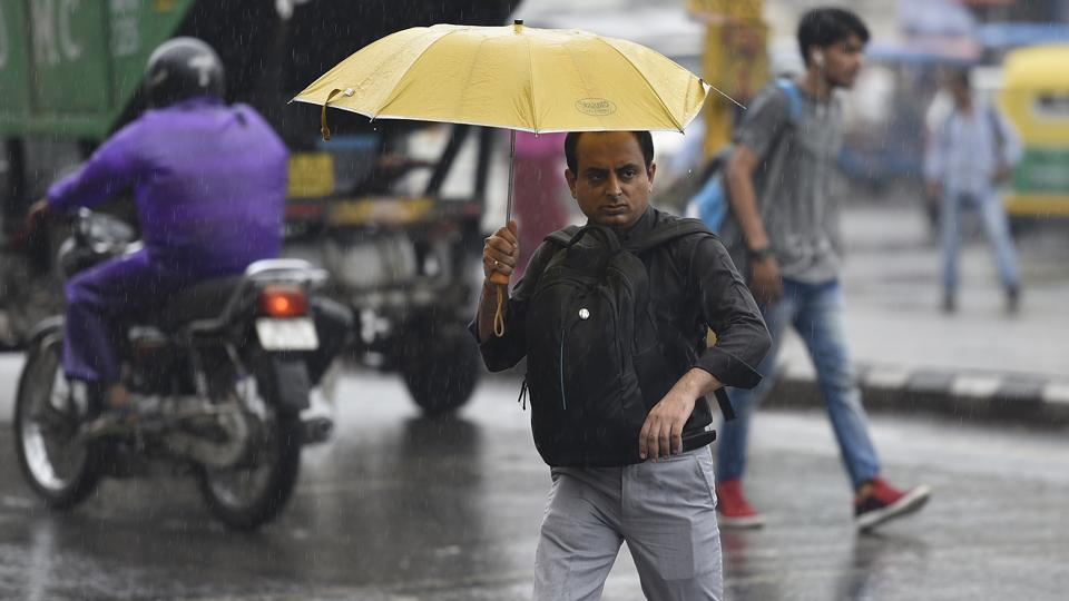 With more rain on the cards till Thursday, the monsoon is expected on course and should reach the capital by June 29. (Raj K Raj/HT Photo)