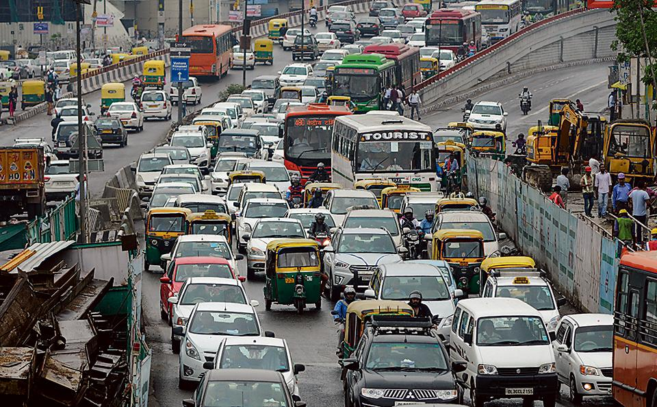 New Delhi, India - June 20, 2017: Traffic Jam on inner ring road near South Ex, after heavy rainfall, in New Delhi, India, on Tuesday, June 20, 2017. (Photo by Burhaan Kinu/ Hindustan Times)